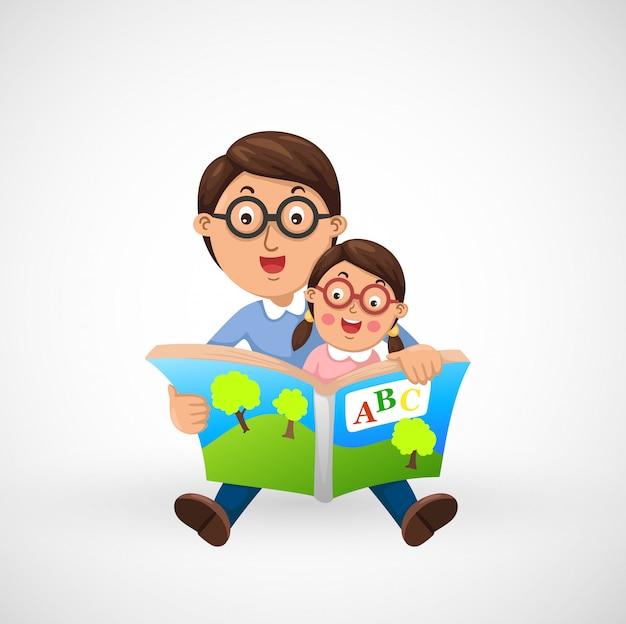 Pai e filho lendo livro juntos