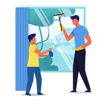 Pai e filho limpando janela