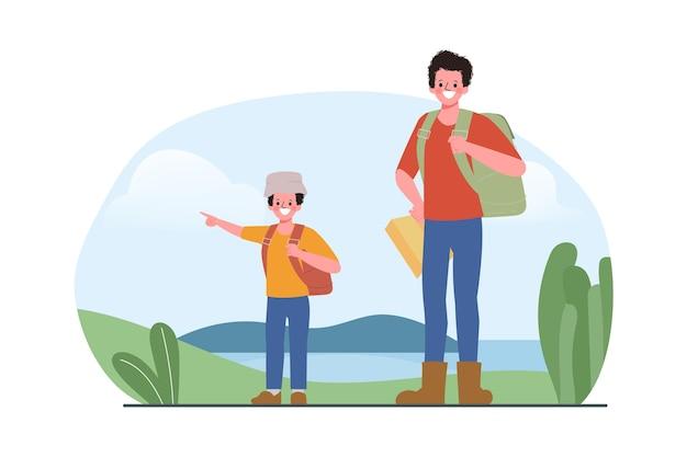 Pai e filho mochila turismo conceito de viagem ao ar livre.