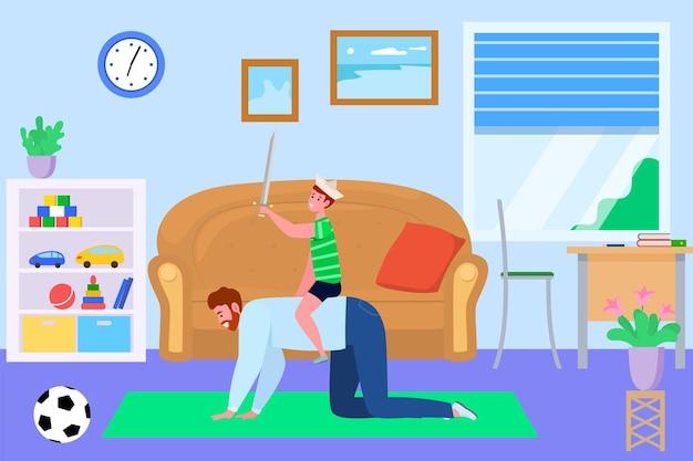 Pai e filho passam um tempo juntos, ilustração vetorial. caráter de pessoas de criança de homem de família se divertir em casa, pai feliz dar passeio a cavalo criança.