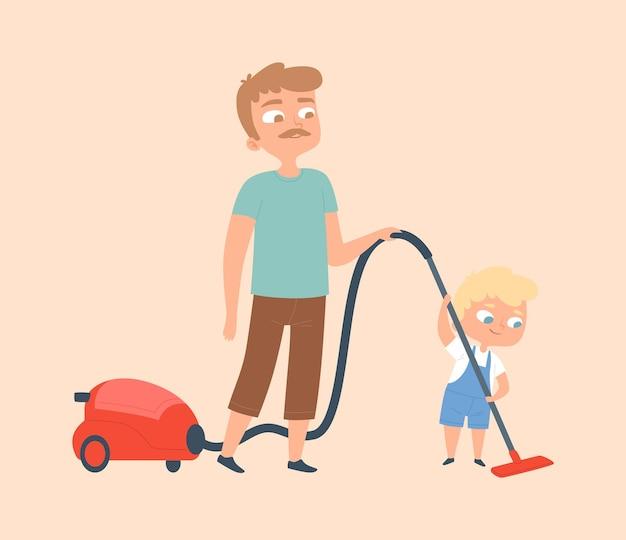 Pai e filho passando o aspirador. limpeza doméstica, limpeza de apartamentos. homem e menino com ilustração vetorial de aspirador de pó
