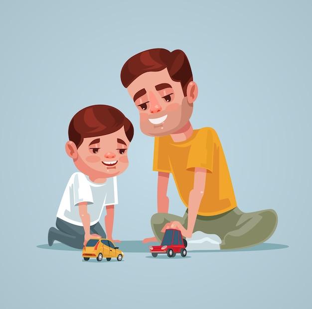 Pai e filho personagem brincam de brinquedo. ilustração em vetor plana dos desenhos animados