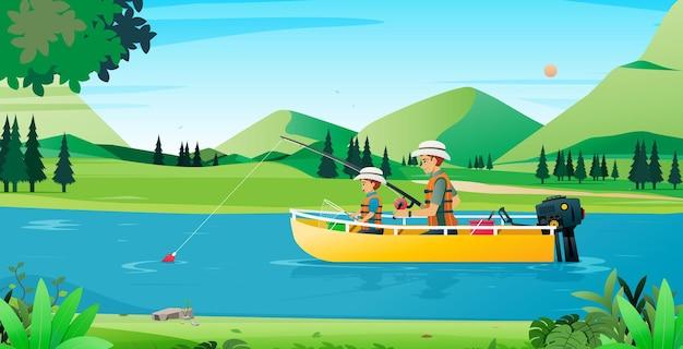 Pai e filho pescando em um barco com uma montanha ao fundo