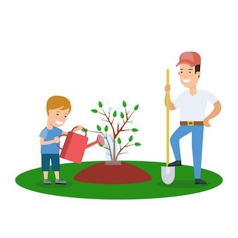 Pai e filho plano, crescendo uma árvore, lazer, estilo de vida, vetorial, personagens, ilustração.