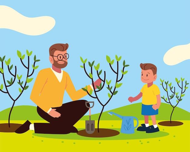Pai e filho plantando uma atividade de jardinagem de árvores