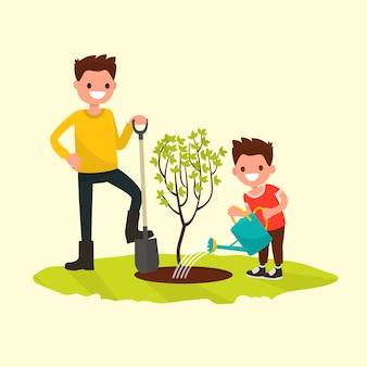 Pai e filho plantando uma ilustração de árvore