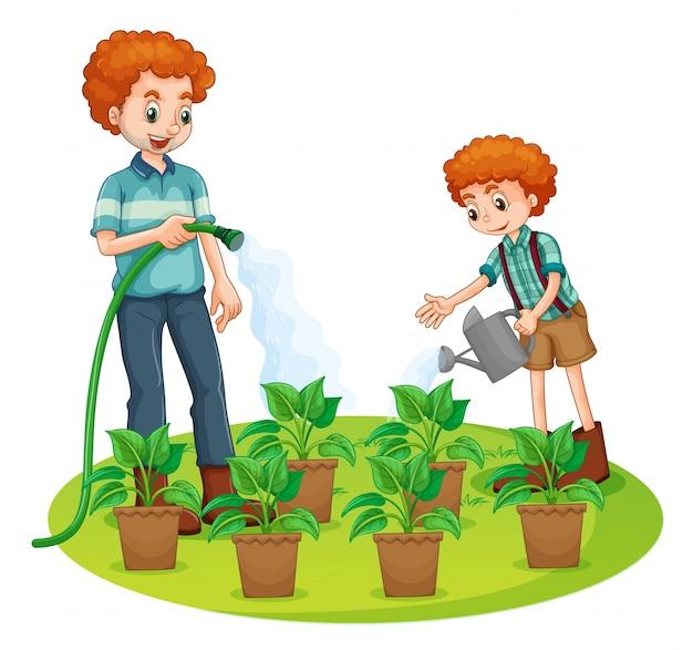 Pai e filho regando as plantas