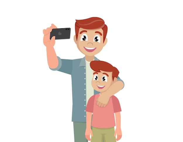 Pai e filho tomando selfie bonito dos desenhos animados vetor eps10