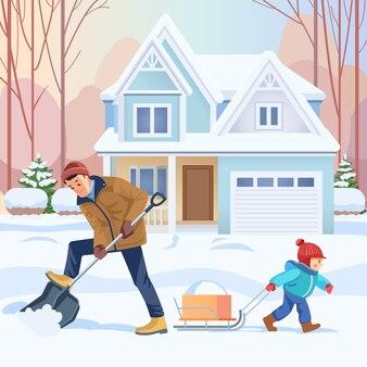 Pai e filho trabalham juntos. pai e filho limpam a neve no quintal. atividade ao ar livre. família feliz. conceito criação de filhos na paternidade. Vetor Premium