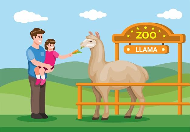 Pai e filho visitam o zoológico e alimentam a educação de animais de lhama para as crianças no zoológico.