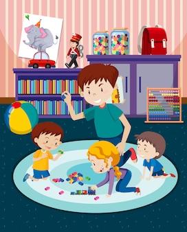 Pai e filhos brincando com brinquedos