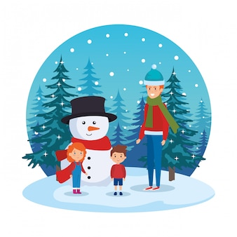 Pai e filhos com roupas de natal em snowscape