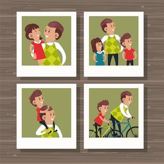 Pai e filhos dos desenhos animados
