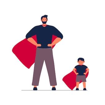 Pai e filhos em super-herói vermelho terno azul. feliz dia dos pais conceito