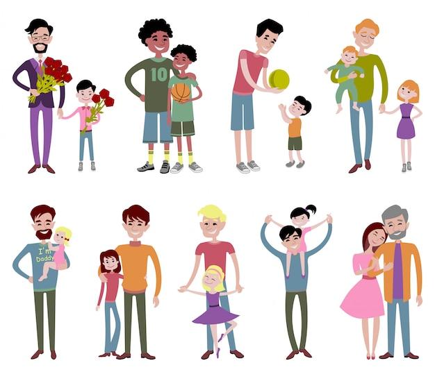 Pai e filhos juntos personagem vector.
