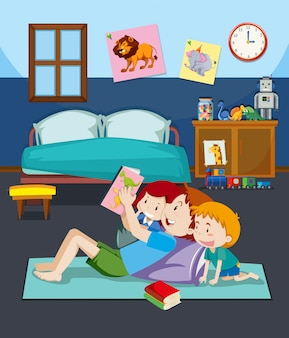 Pai, e, filhos, lendo um livro