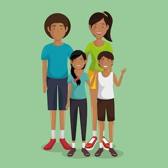 Pai e mãe com filho e filha