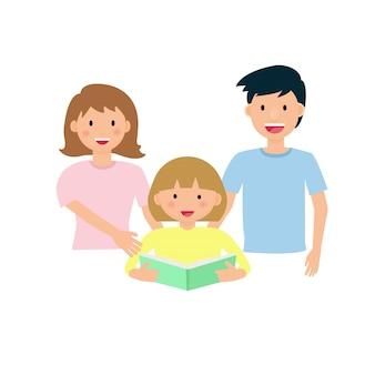 Pai e mãe lendo um livro com seus filhos