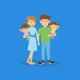 Pai e mãe seguram seus filhos.