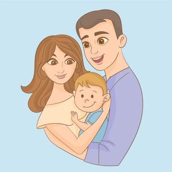 Pai e mãe segurando seu filho nos braços