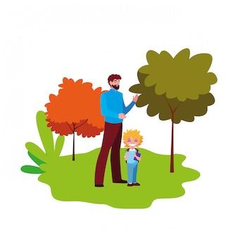 Pai e menino estudante ao ar livre de volta à escola