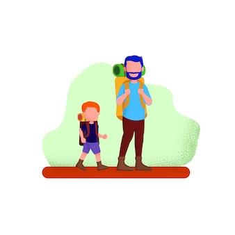 Pai e seu filho caminhando para acampar de férias