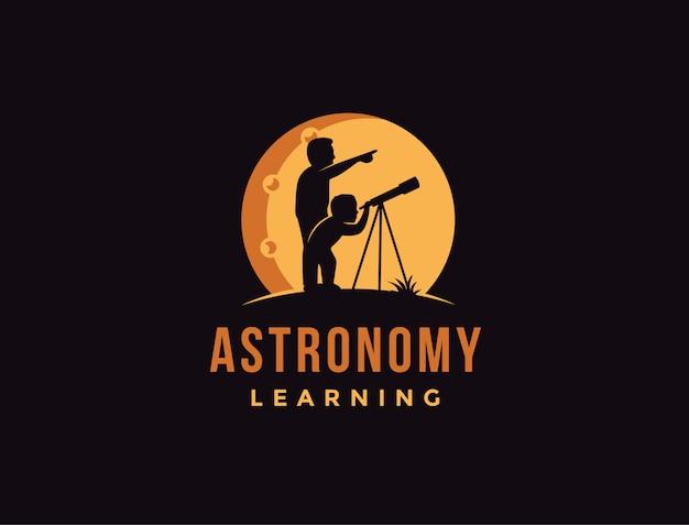 Pai e sol usando o modelo de logotipo de telescópio