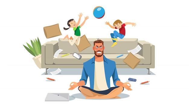 Pai em estado de estresse com a brincadeira de crianças
