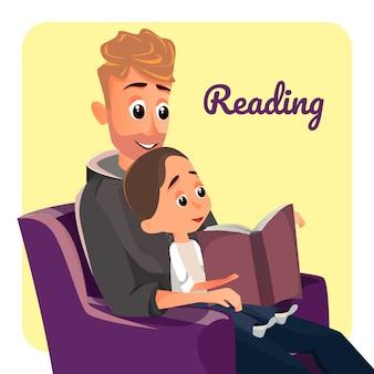 Pai, em, poltrona, ler, para, pequeno, filho, menino, escute