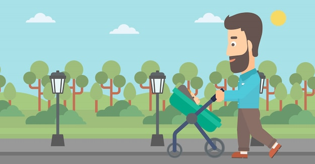 Pai empurrando o carrinho de bebê.
