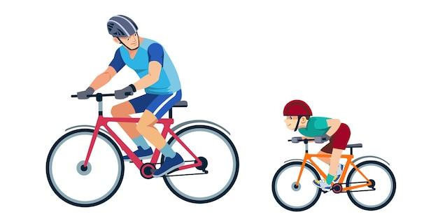 Pai ensina filho a andar de bicicleta Vetor Premium