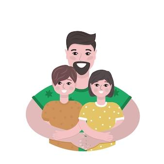 Pai feliz abraça seu filho e filha ilustração vetorial isolada