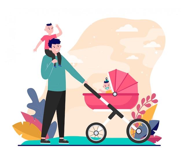 Pai feliz andando com crianças