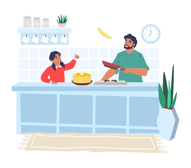 Pai feliz cozinhando panquecas com a filha na cozinha, ilustração plana. relacionamento pai e filho.