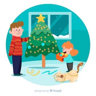 Pai filha, decorando, natal, árvore