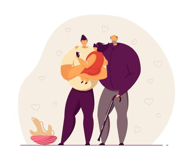 Pai, filha e avô tomando selfie juntos. menina usando telefone celular para tirar foto com o pai e o avô. ilustração em vetor plana. conceito de foto de família para banner, design de site, página de destino