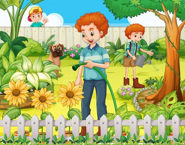 Pai filho, molhando, a, plantas, em, a, jardim