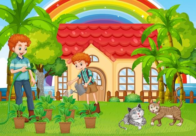 Pai filho, molhando, plantas, em, jardim