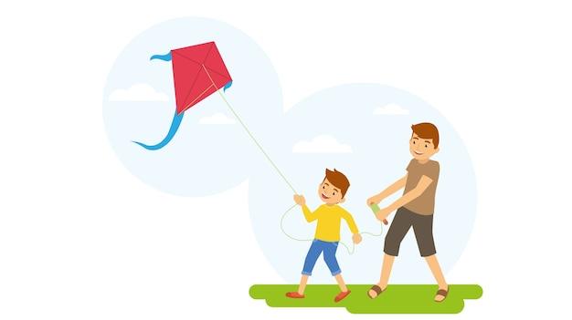 Pai filho, pendurando, jogando kite, exterior