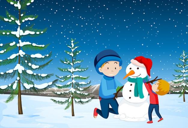 Pai, filho, predios, boneco neve