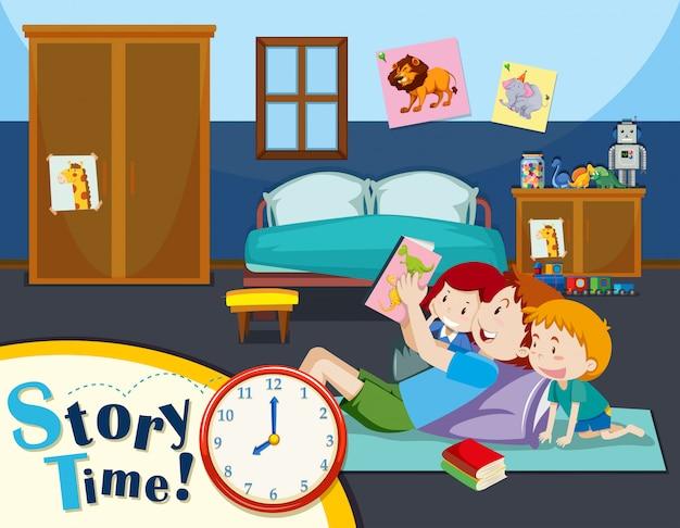Pai lendo história para crianças