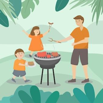 Pai leva filho e filha para acampar no dia dos pais, onde conversam, festejam e saem de férias