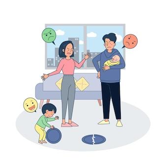 Pai lutando contra a febre devido a criança ter quebrado o prato durante a brincadeira.