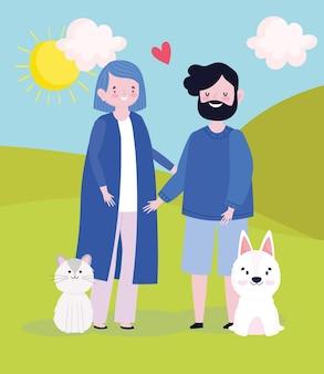Pai, mãe, animais de estimação desenho animado