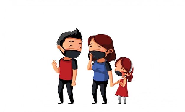 Pai, mãe e filha usam máscara têm tempo para a família