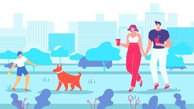 Pai, mãe, e, filho, cachorro andando, em, parque cidade