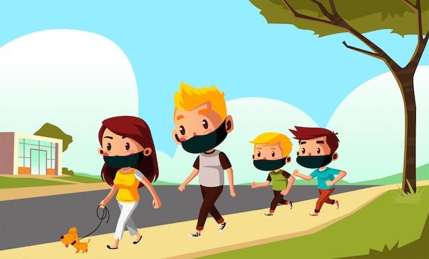 Pai, mãe e filhos estão caminhando juntos durante o novo normal