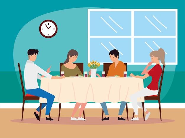 Pai, mãe, filho e filha de personagens de desenhos animados comendo juntos ilustração