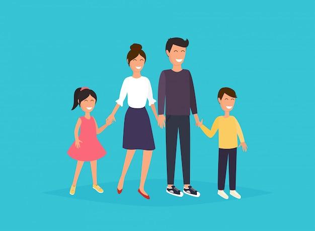 Pai, mãe, filho e filha juntos.