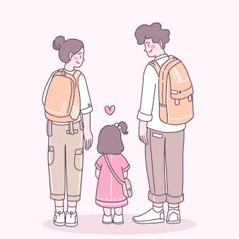 Pai - mãe mochilando para levar a filha para passear.